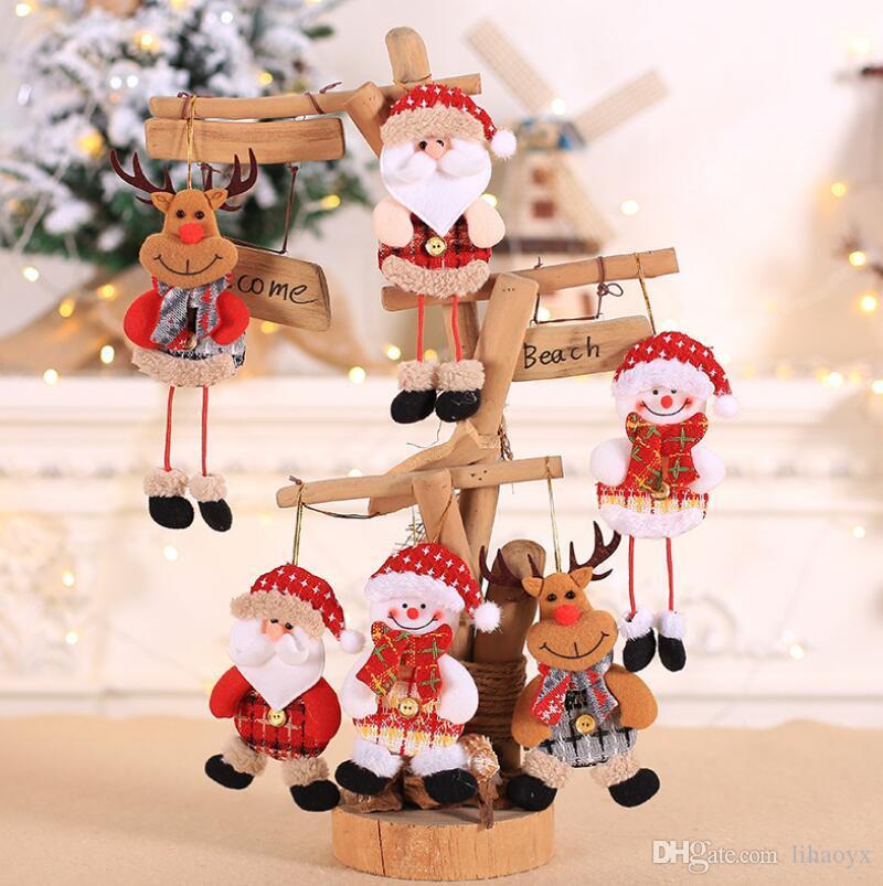 Sevimli Noel Bebek Uzun Bacak Noel Baba Clause Kardan Adam Elk Süs Noel Ağacı Asmak Kolye Çocuklar Oyuncak Noel Dekor için Ev Da011