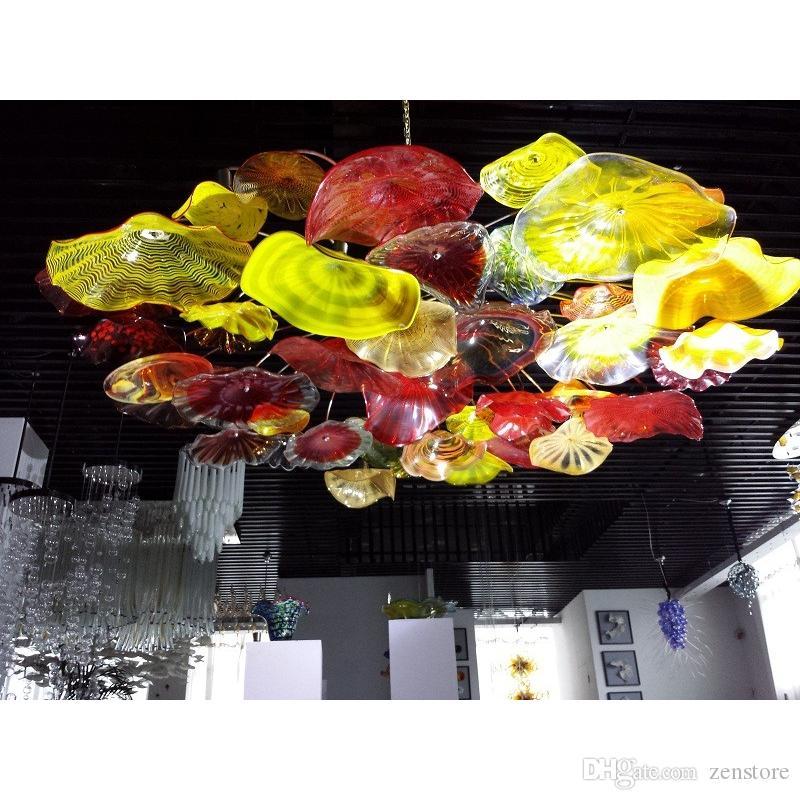 Modern vidro Murano lustres aparelho de iluminação Big Size embutida Flores chandelier lâmpada LED Interiores Hotel Club Luz