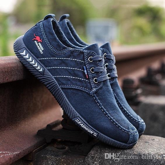 2019 Sale alta calidad más nueva simples Style1 barato tela blanca azul formadores zapatos cómodos gris oscuro deportes para hombre zapatillas de deporte casuales 38-46