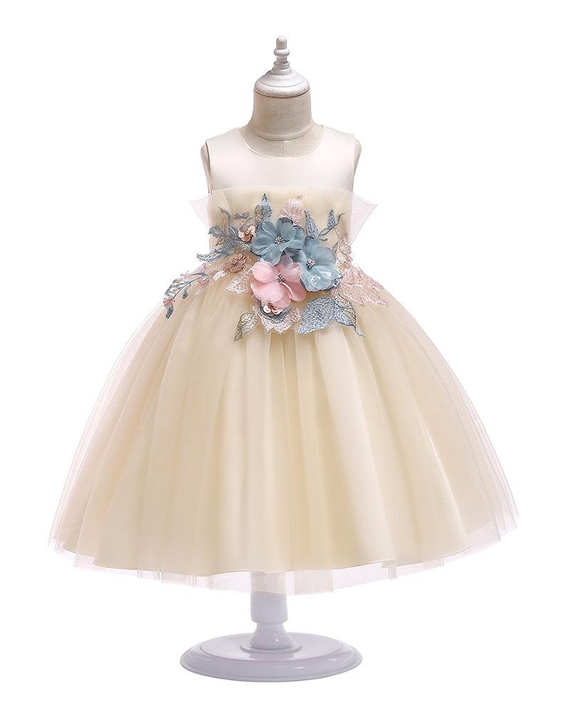 2019 New Girls Flower Appliqued Princess Dress Summer Sleeveless Luxury Satin Tulle Ruffle Vest Wedding Party Dresses Kids Cosplay boutique