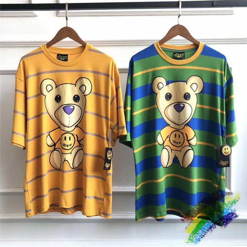 Rayure verte jaune DREW Maison T-shirts Femmes Hommes meilleur style d'été Qualité DREW Top Tee T-shirts