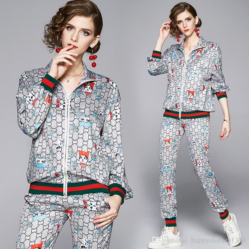 2020 женская мода из двух частей брюки с длинным рукавом печатных взлетно-посадочной полосы Куртки пальто + длинные брюки 2 шт плюс размер дамы дизайнер из двух частей наборы