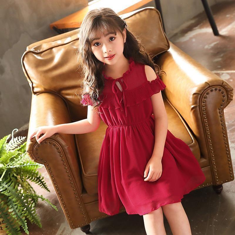 2020 New Teenage Girls Princess Dress Baby Girls Clothing Knee Length Dresses Children Girls Elastic Waist Dress Vestios X30 T200417