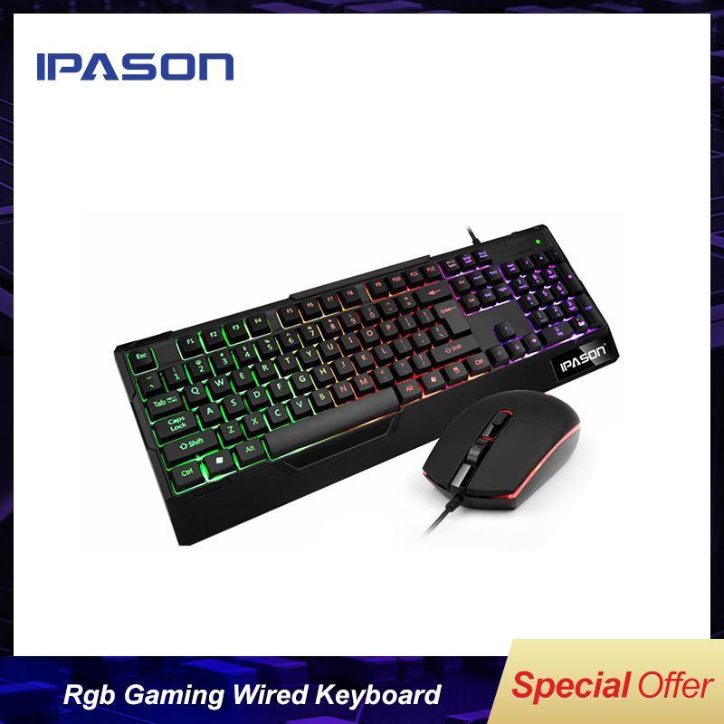IPASON tedesco Retro USB RGB Gaming Keyboard cablato per il gioco lol / solo colore bianco dal magazzino russo / spedizione gratuita e veloce