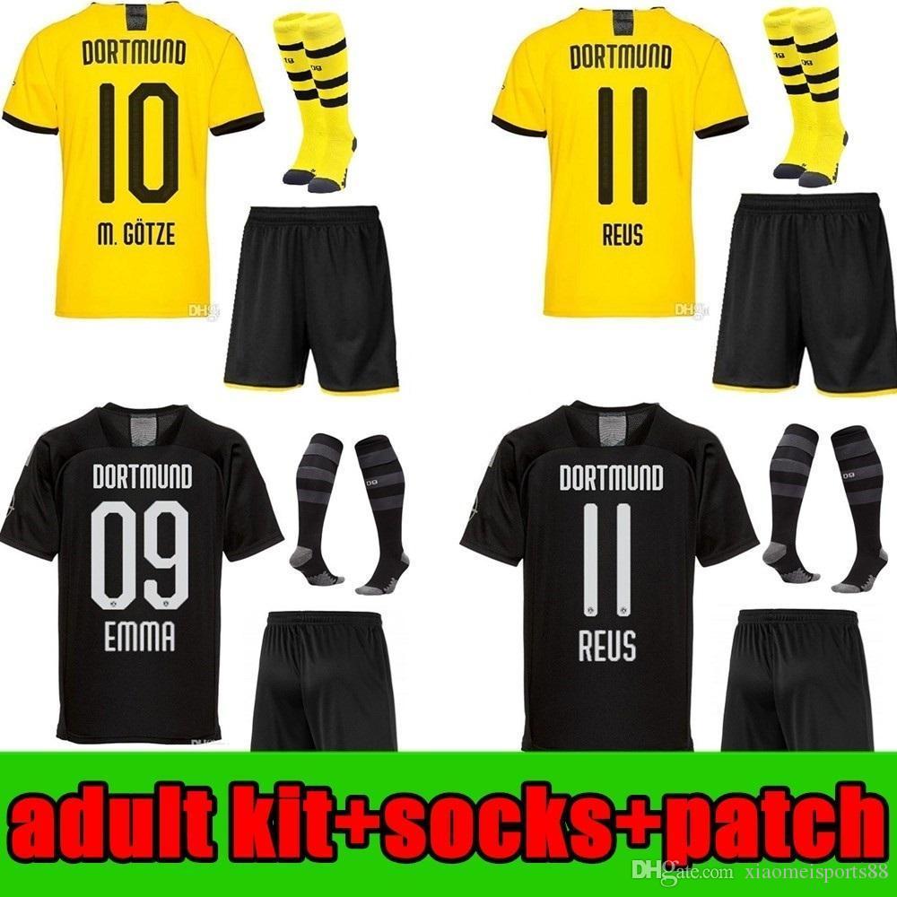 Kit para adultos 2019 2020 Borussia Dortmund hombres kit camiseta de fútbol 19 20 negros REUS PELIGRO BRANDT Camisas pantalones cortos