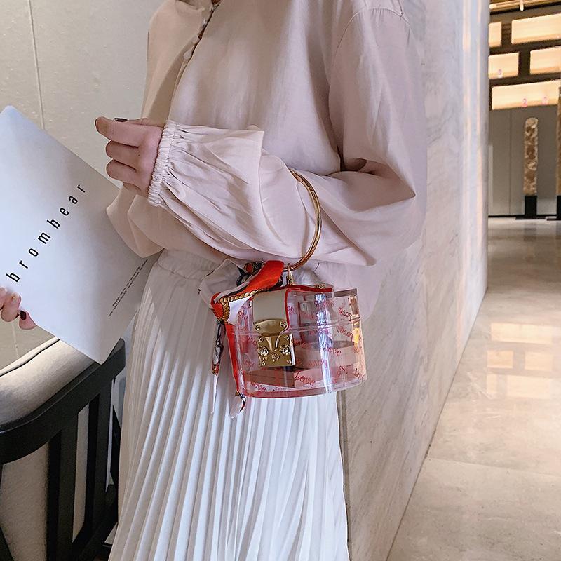 2020 yeni kadın omuz çantası yeni kadın çantası moda akrilik şeffaf yuvarlak çanta ipek eşarp akşam