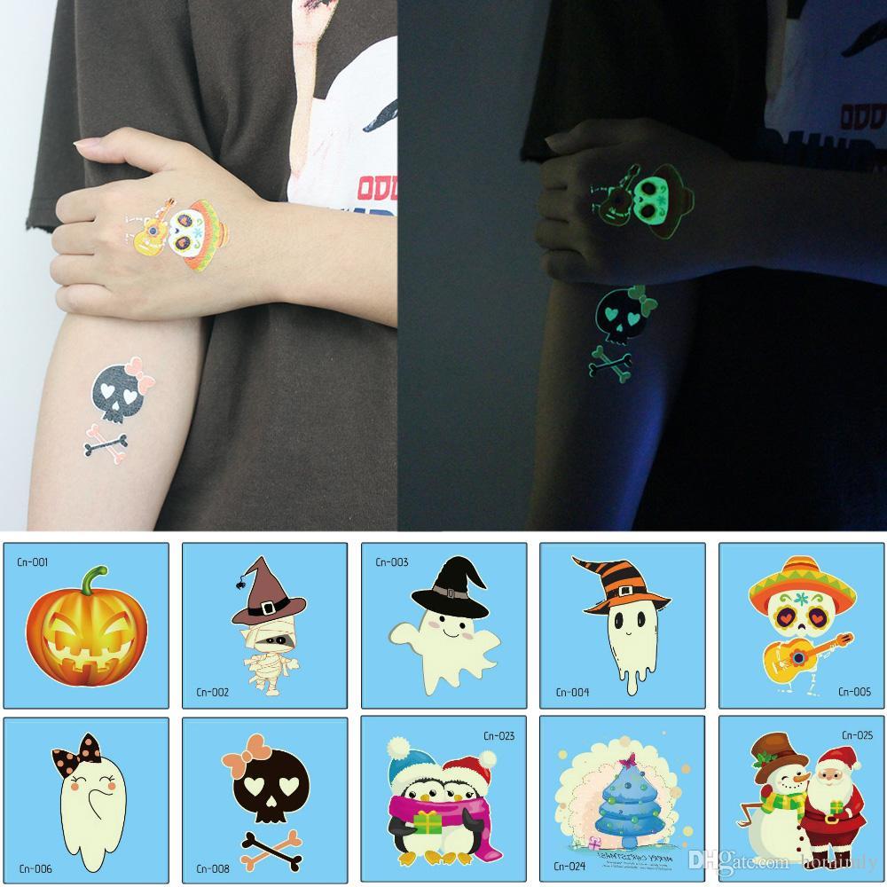 Halloween Luminous Tattoo Ghost Kids Fake Tattoo Bright