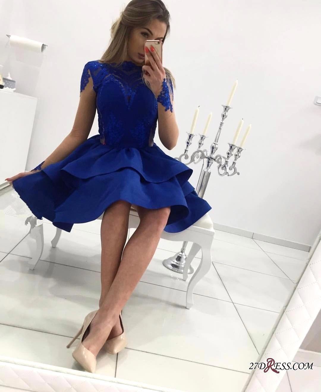 Pas cher royal bleu dentelle courte robe de retour de la dentelle longue illusion manches au-dessus de la longueur du genou de la longueur simple dentelle appliques courtes robes de bal short robe de fête