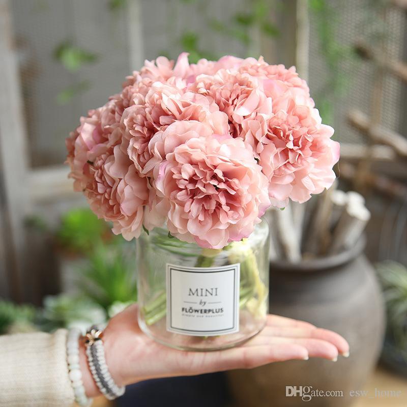 زهور الفاوانيا باقة الاصطناعي للزينة الزفاف 5 رؤساء الفاوانيا وهمية الزهور ديكور المنزل الحرير الكوبية