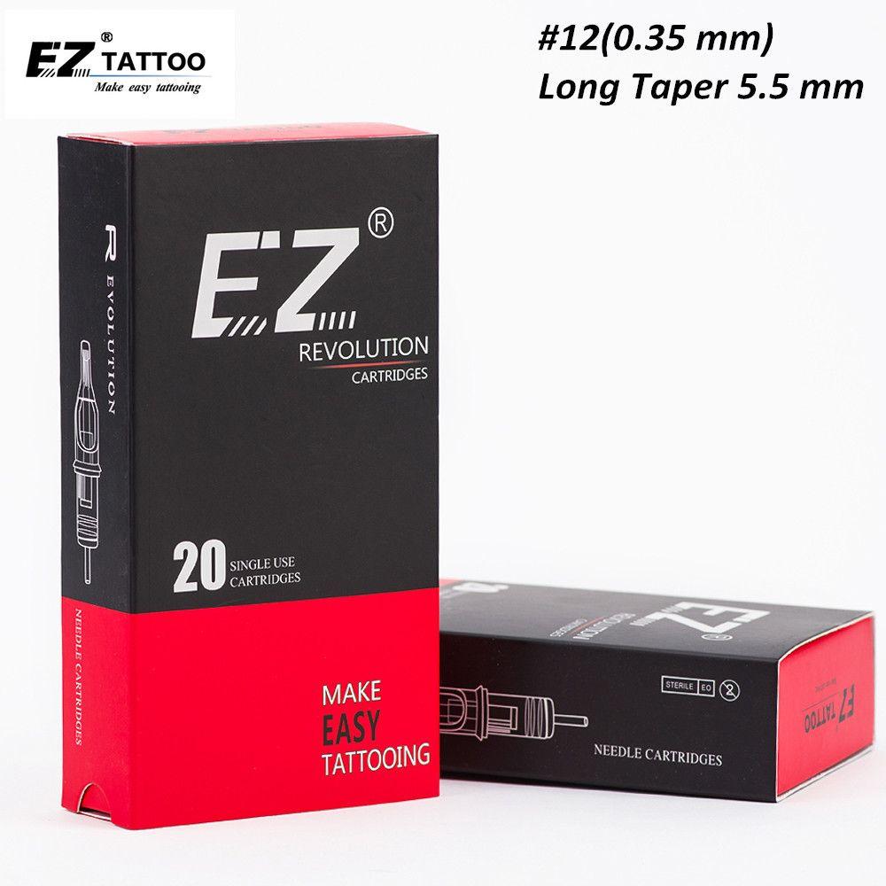 Cartucho EZ Revolución aguja # 12 Taper regular a largo curvo Magnum aguja del tatuaje para el cartucho de la máquina del tatuaje 20PCS / Caja CX200805