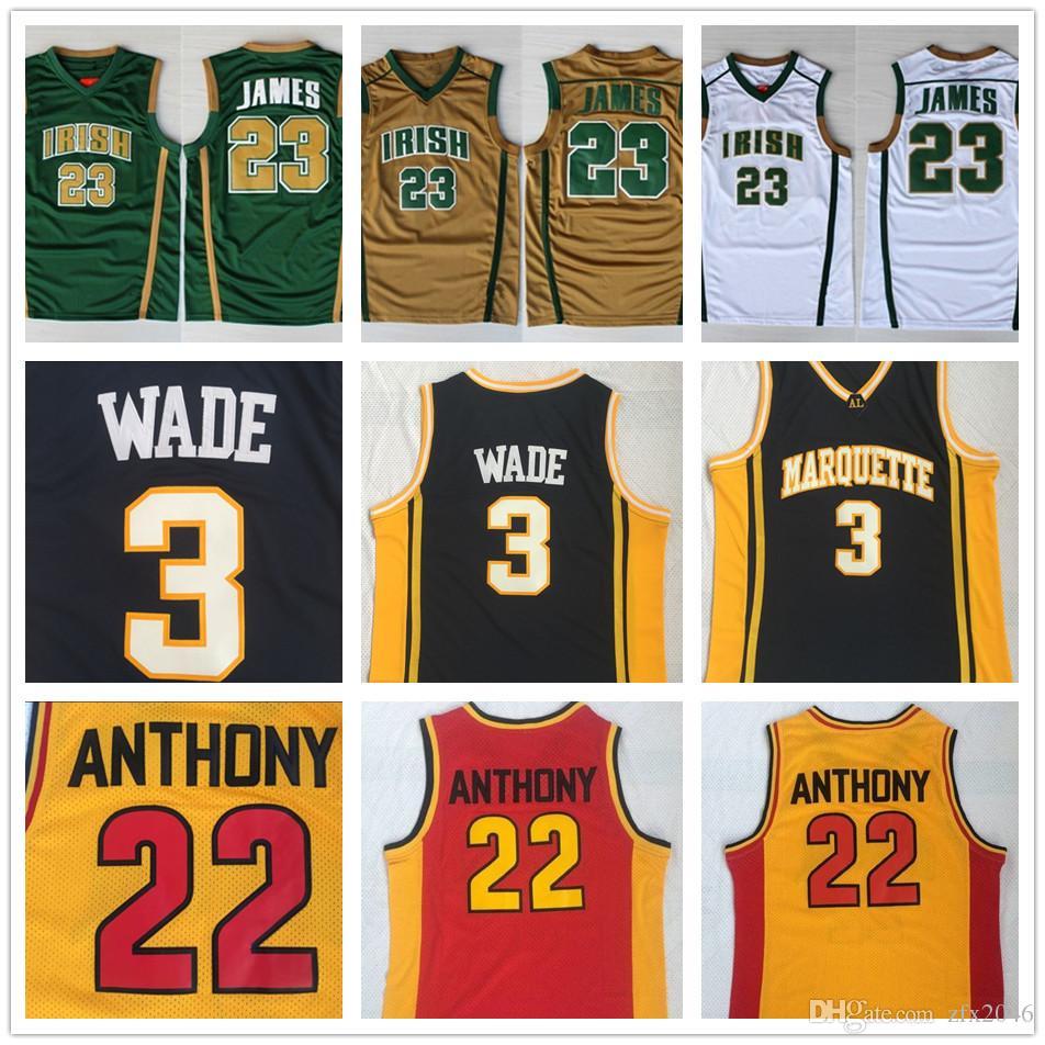 Mens St.Vincent Mary High School Irish # 23 LeBron James Jerseys 3 DW Wade # 22 Carmelo Anthony College 농구 셔츠 스티치
