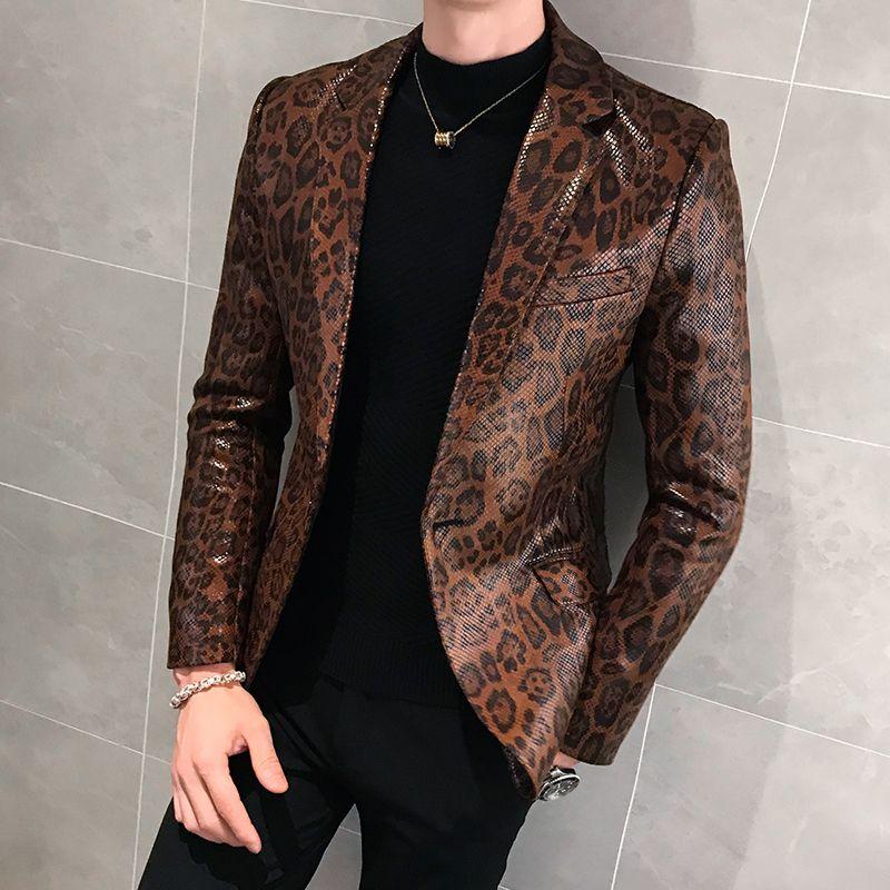 Männer Herbst-neue Leopard-Leder-dünne Klage-Jacke Männer Business Casual Schlange Drucken Overcoat Oberbekleidung Faux-Pelz-Mantel