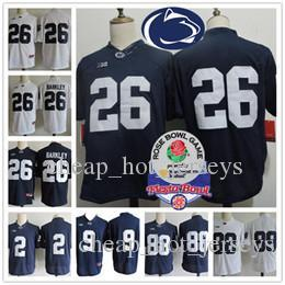 Penn State Nittany Lion #26 Saquon Barkley 2 Marcus Allen 88 Mike Gesicki 9 Trace McSorley Navy Blue White Stitched NCAA College Jerseys