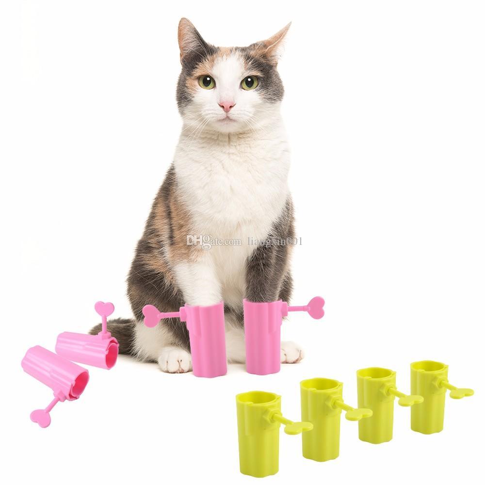 Botas para animais de estimação 4 Pçs / set Pet Cat Anti Coçar Botas Ferramentas Prevenir Mordendo Patas Luva Gatinho Seguro Confortável Sapatos Ajustáveis Para Animais De Estimação Gatos