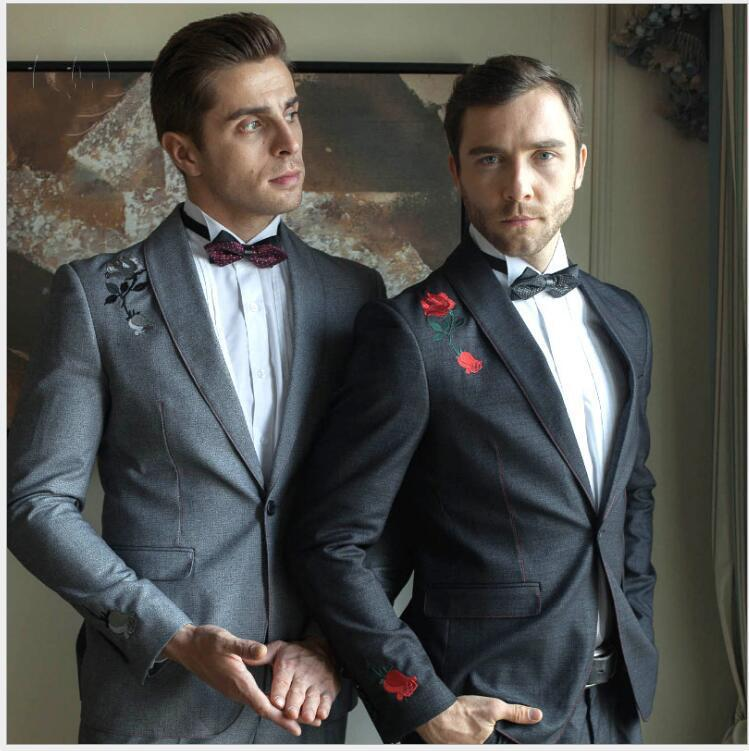 2019 New Arrival Formal Evening Party Suits Two Pieces (Blazer Pant )Excellent Fabric Wedding Embroidery Tuxedos With Shawl Lapel