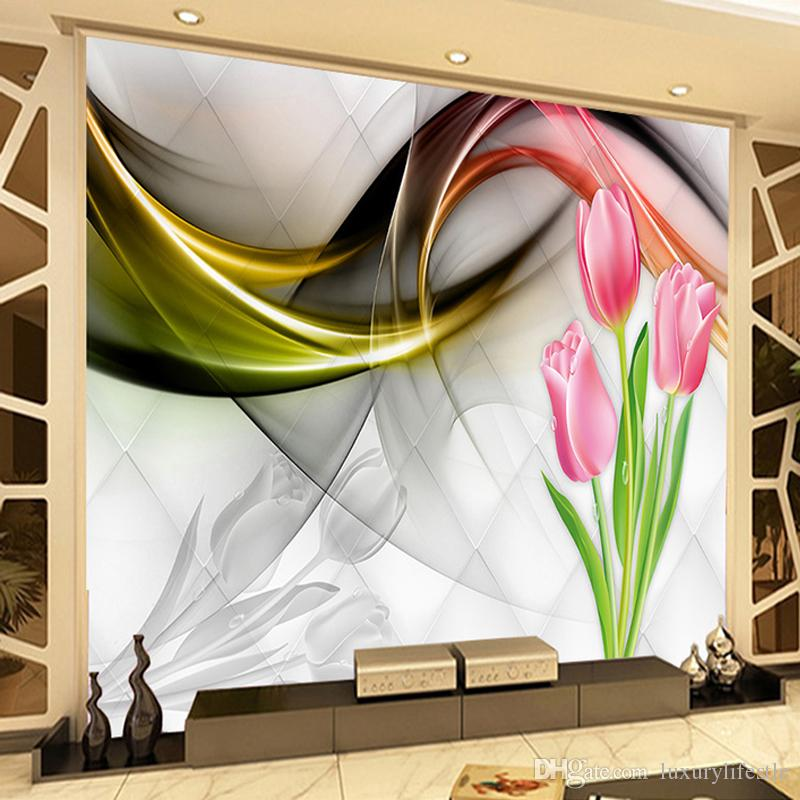 Foto Papel de Parede Parede Dropship Personalizado 3D Pintura Tulip Flowers Abstract Smoke Nevoeiro Art Mural Sala Sofa TV de Fundo Wallpaper Modern