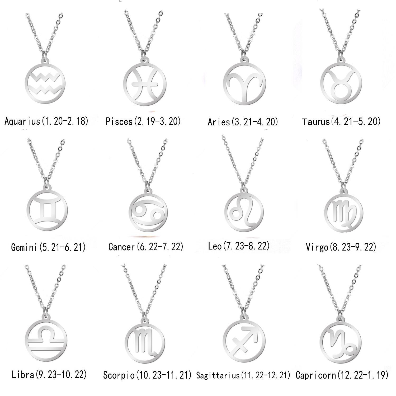 ewelry Accessori Donna acciaio inox stella segno zodiacale 12 Constellation pendenti delle collane girocolli fascino per monili delle donne Friendsh ...