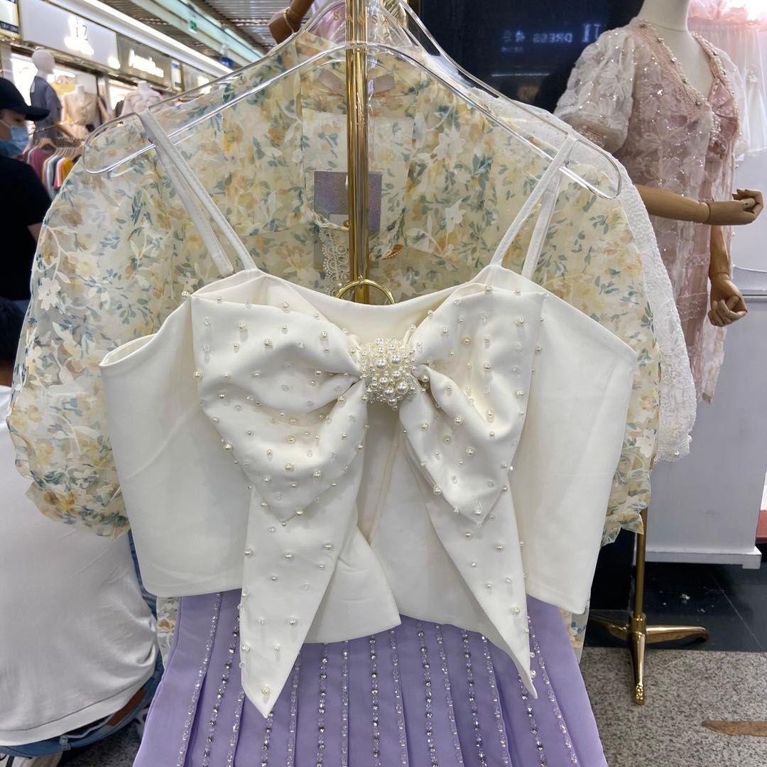 Femininos Indústria Pesada frisado bowknot Camisole 2020 Verão New Sexy Short Top Women Tops Nancylim Rosa Branco