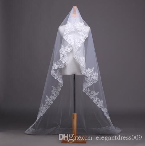 Nouveau designer Nouvelle Arrivée Veil de mariée bon marché Courtes voiles de mariage de lacets de dentelle simple avec peigne voiles de mariée D6
