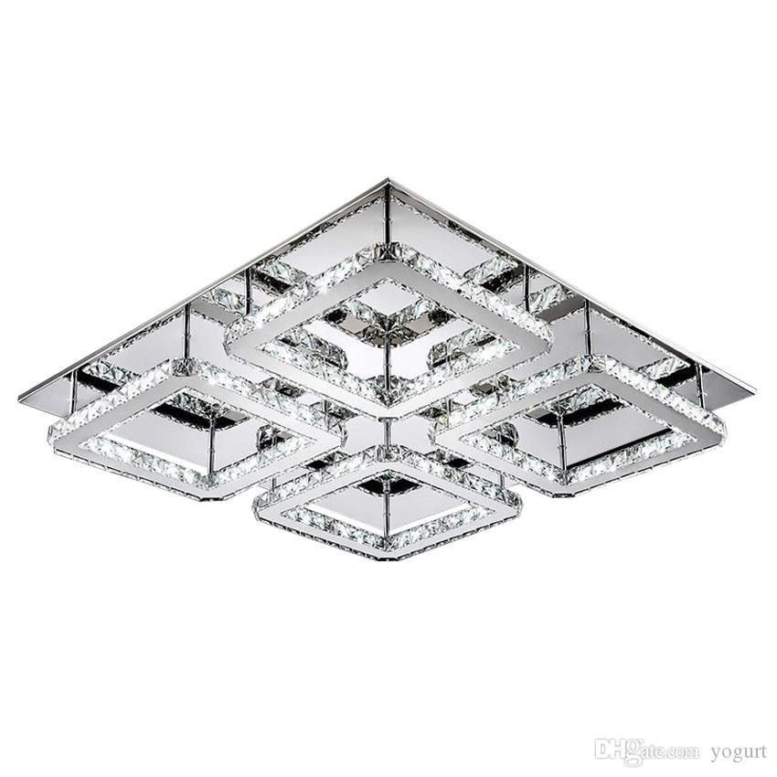 Free Shipping Large Square Design Modern Led Crystal Ceiling Light 4-lights Lustres Home Decoration Luminaria Teto