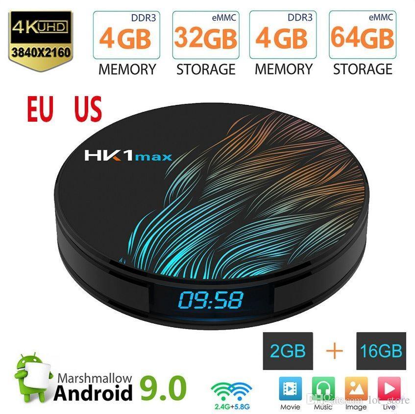 Newly HK1 Max Smart TV Box Android 9.0 4GB 128GB 64GB 32GB Rockchip 4K Wifi Netflix Set top Box Media Player 2GB16GB Android 9 BOX