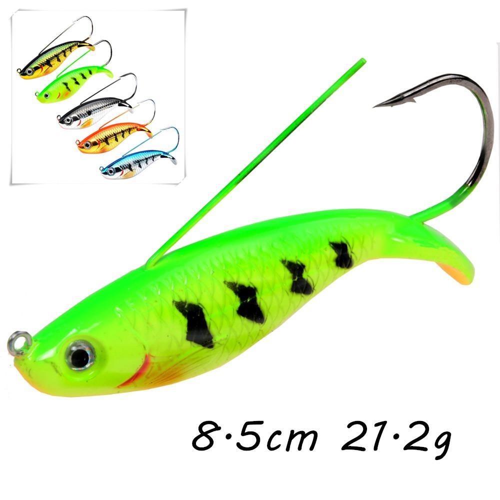5 de várias cores Jigs de plástico rígido iscas iscas de 8.5cm 21,2 g Único gancho de pesca Ganchos Pesca Pesqueiro BLU_226