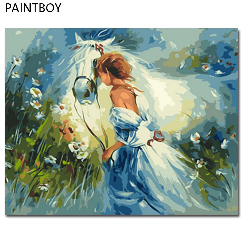 PAINTBOY Çerçeveli Atlar Sayılar Tarafından DIY Dijital Yağlıboya PaintingCalligraphy Ev Dekorasyonu Duvar Sanatı GX9869 40 * 50 cm
