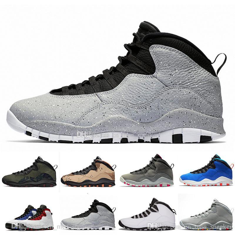 Мужские баскетбольные кроссовки 10 Desert Camo Tinker Cement 10s Мужские кроссовки Серый Прохладный серый Я вернулся Порошок Синие кроссовки спортивные кроссовки размер 7-13