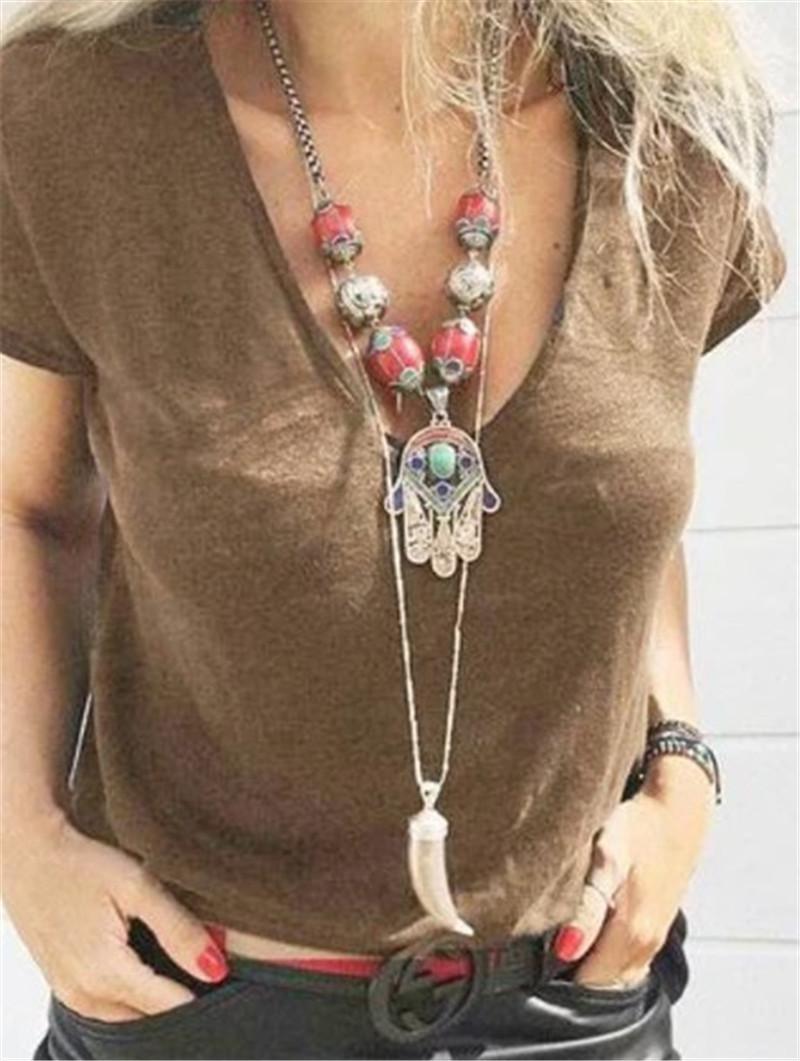 Summer Women Designer Short Tshirt Soild Color Deep Vneck Causal Tops Fashion Slim Simplicity Womens Clothing