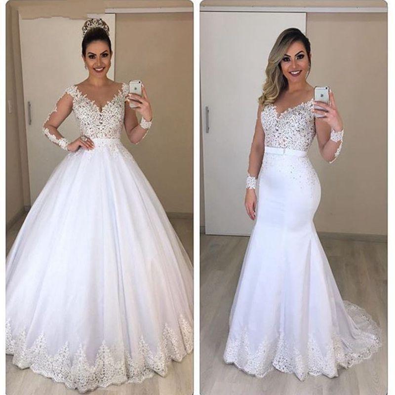 Новое поступление белый с длинным рукавом свадебные платья 2020 бальное платье свадебные платья Vestido de Noiva невесты с съемным поездом