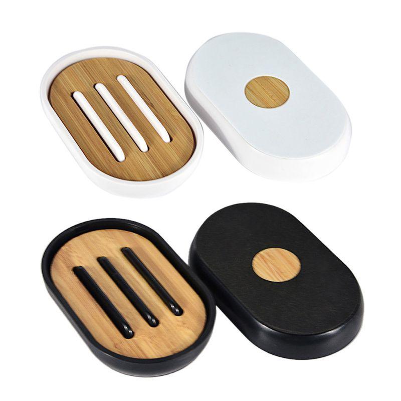 Bambù Sapone supporto del piatto Bagno Doccia piastra di supporto Rack Storage Box contenitore della cassa con coperchio per il bagno