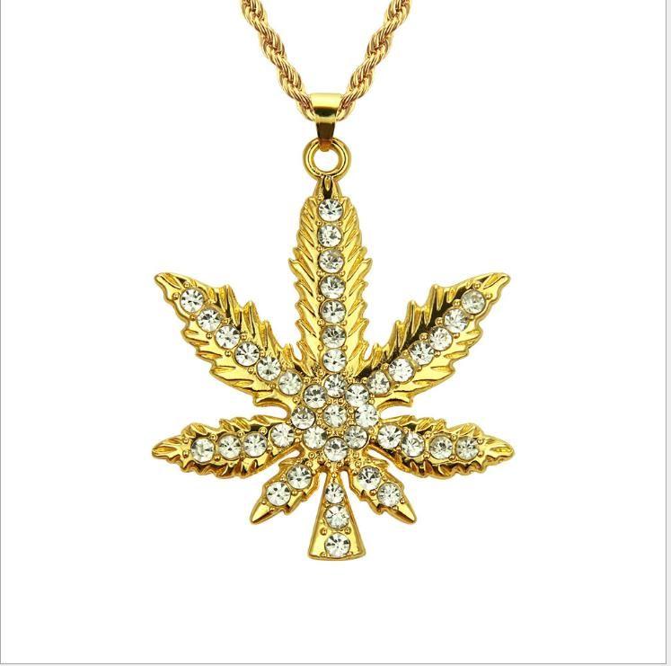 Neuer Schmuck Hip-Hop-Diamant-Ahornblatt-hängende Halskette der europäische und amerikanische Mode-Anhänger Außenhandel Halskette
