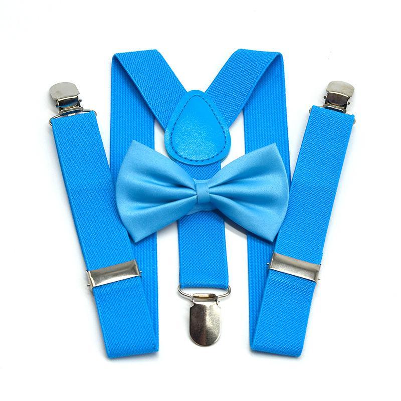 Réglable enfants élastiques avec bretelles Bowtie garçons Mode filles Bow Tie Set bébé Braces Bretelles de mariage Pantalons-shirt Séjour