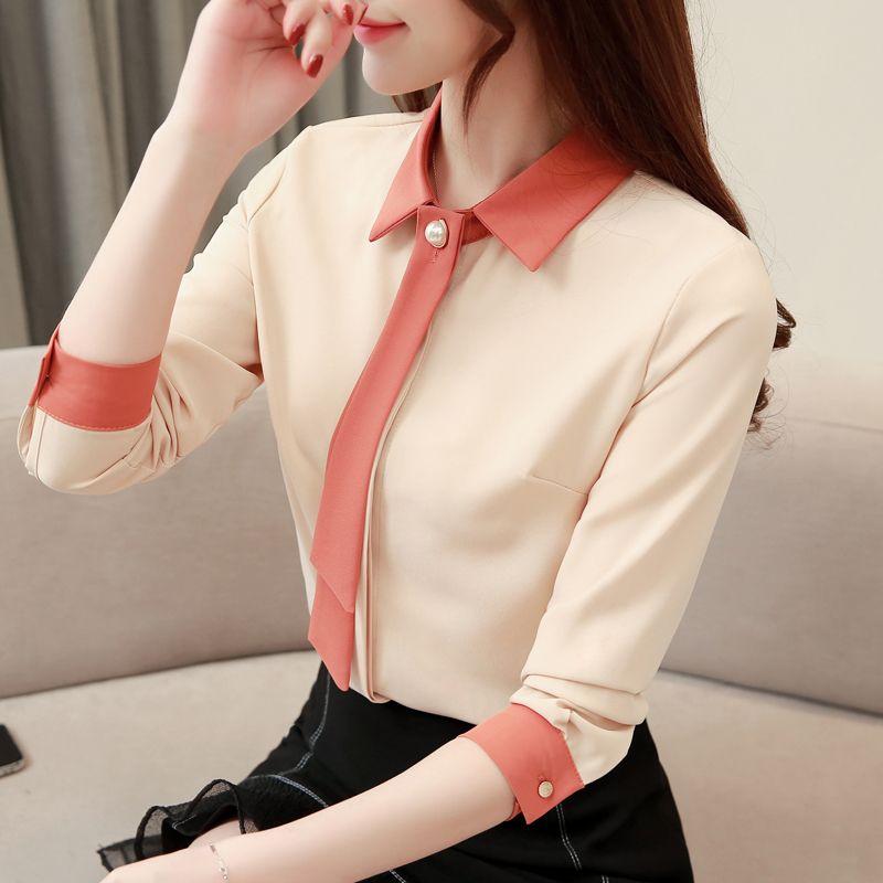 S-3XL 2019 Spring Summer Women Blouse Shirt Long Sleeve Turn-down Callor Patchwork Office Blouses Casual Chiffon Blusas Shirts