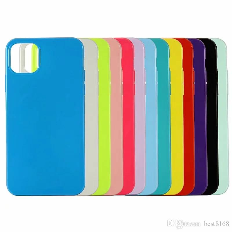 Soft TPU Case For New Iphone 12 2020 11 Pro Max Glossy Candy Solid Colorful Cover Crystal Silicone Fashion Bling Phone Rubber Gel Skin