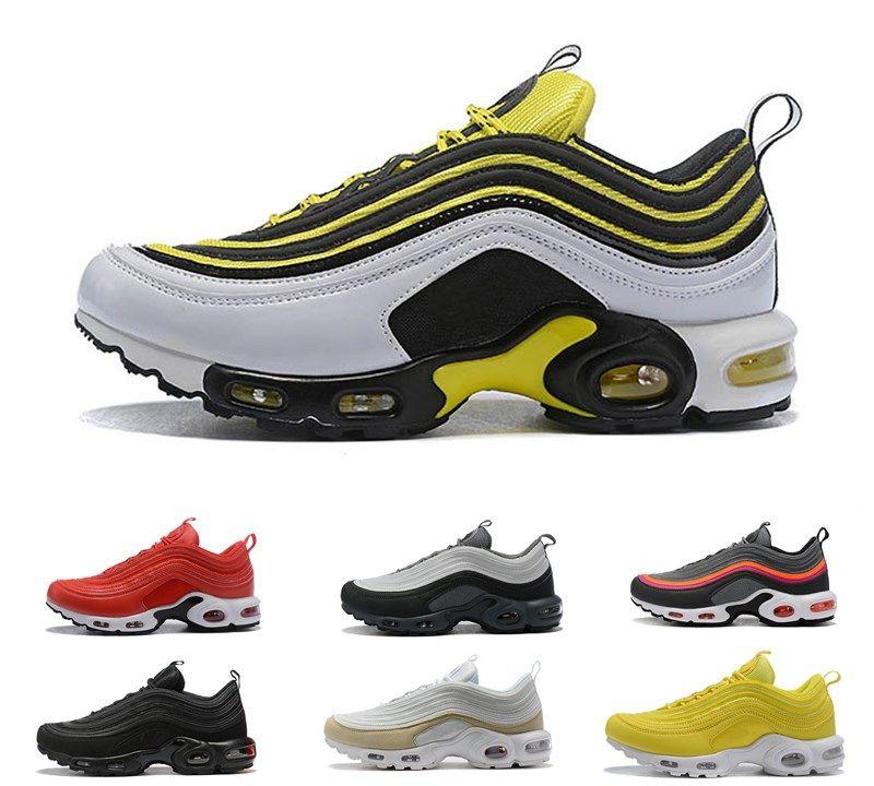 2019 hot Nike Air Max tn 97 97s TN Plus Scarpe da corsa Uomo Uomo Triple Nero giallo Champagne Oro Sneakers Sneakers Chaussure TN Scarpe sportive all'aperto 40-45