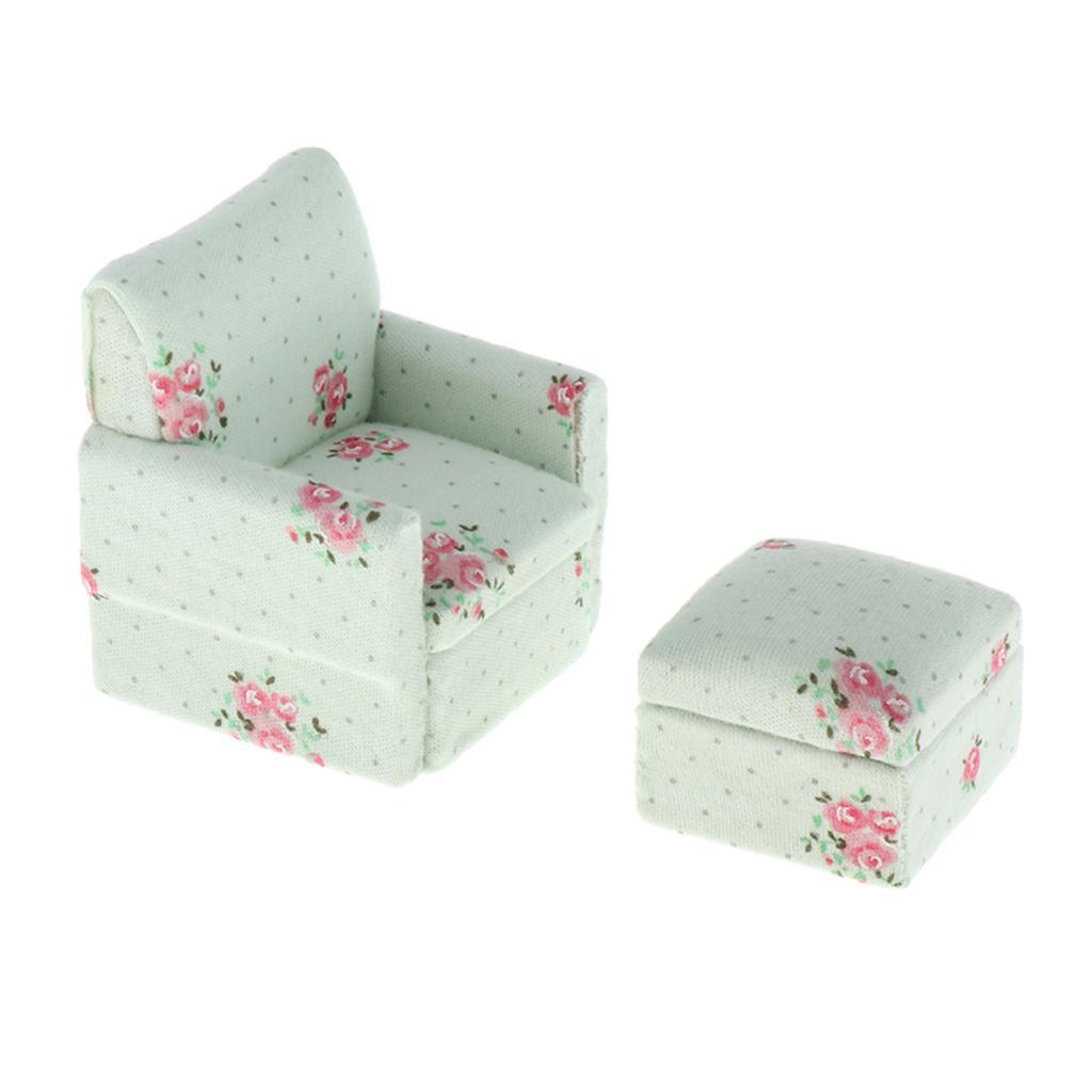 1/12 Dollhouse Miniature Furniture Room - Floral Sofá Sofá com Stool - Mini Realistic Modelo Toy Set