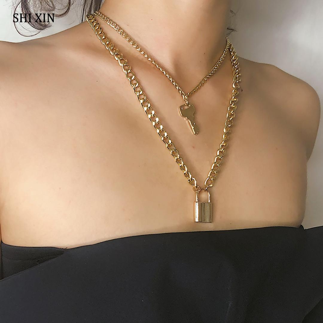 Shixin Moda chave pingente Cadeado por Mulheres Gold / Silver Chain bloqueio colar em camadas no pescoço jóias Com Bloqueio Punk