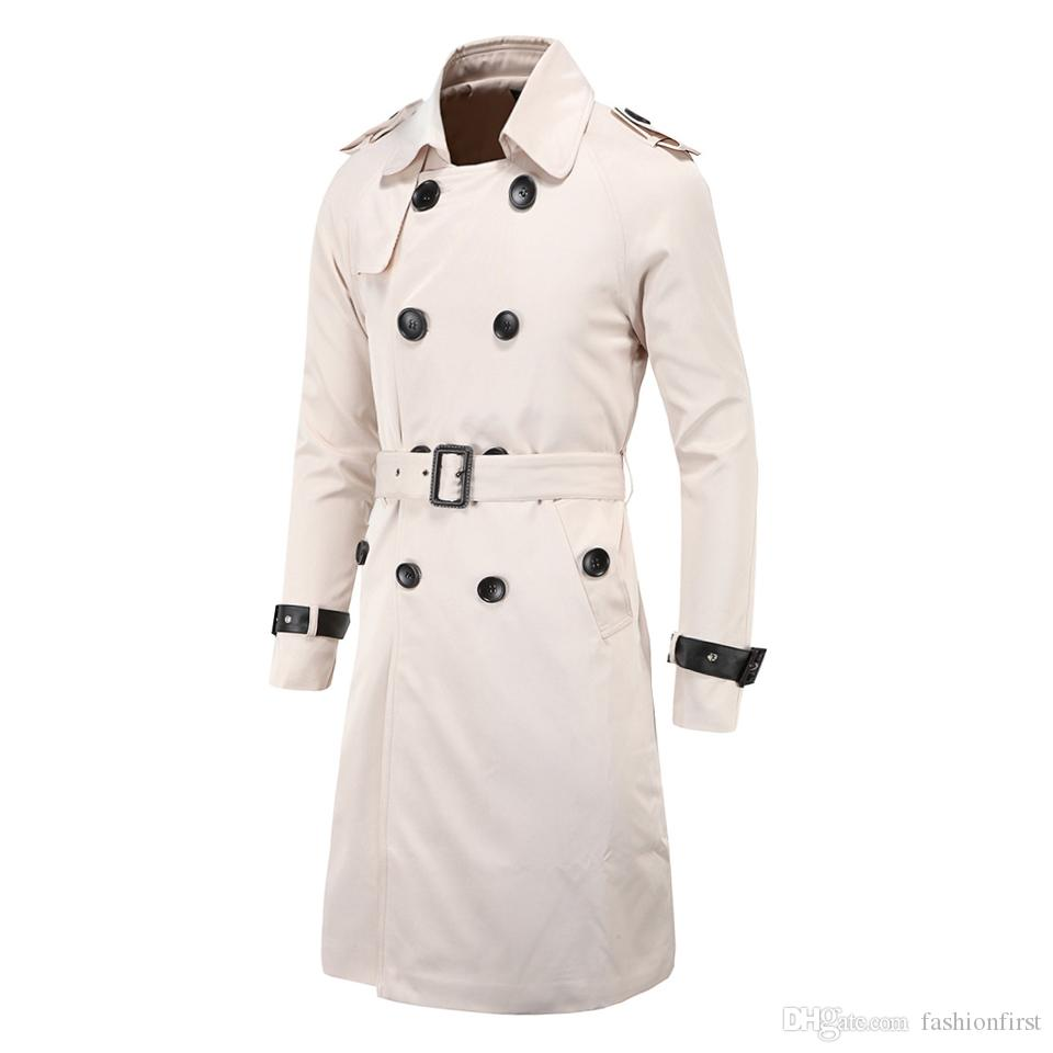 High end menswear spring plus size xxl mens belted trench coat European American long slim double breast trench coat for men casac