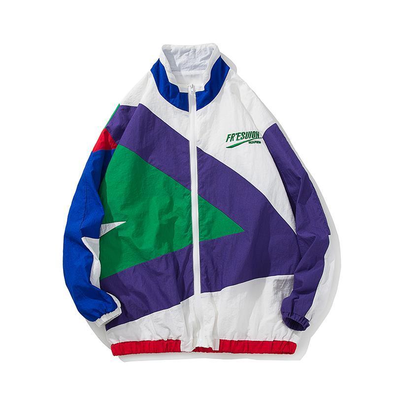 Chaqueta japonesa Streetwear Hombres Costura de color retro Chaqueta cortavientos con cremallera completa Primavera Otoño Moda Casual Hip Hop Abrigo Tamaño M-4XL