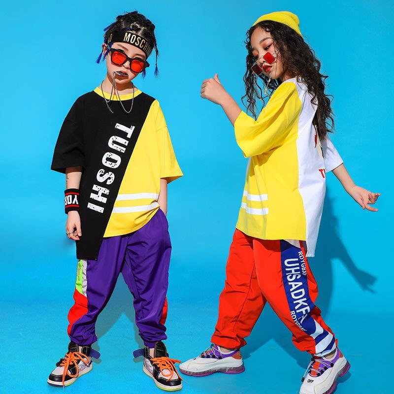 Crianças de salão roupas Hop dança de Hip para dança traja meninas Meninos Jazz Oversized Camiseta Tops Jogger calças soltas Dancewear