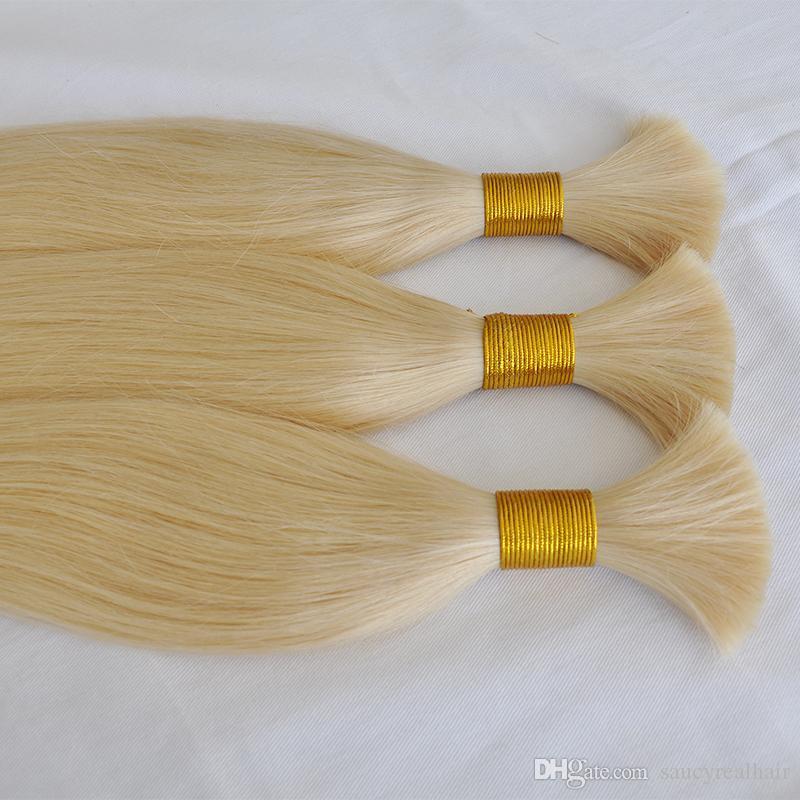 İyi Fırsat Renk 613 Sarışın İnsan Saç Uzatma Toplu Ucuz Düz Dalga Brezilyalı Saç Toplu Örgüler Için Ek Ataşman, Ücretsiz Kargo