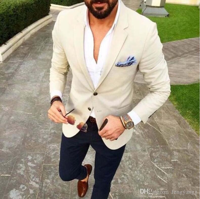 노치가없는 옷깃 2 조각 (JAC + 케트 + 바지) 베이지 웨딩 신랑 Tuxedos 최고의 남자 신랑 스미 맨 저녁 댄스 파티 의류 의상