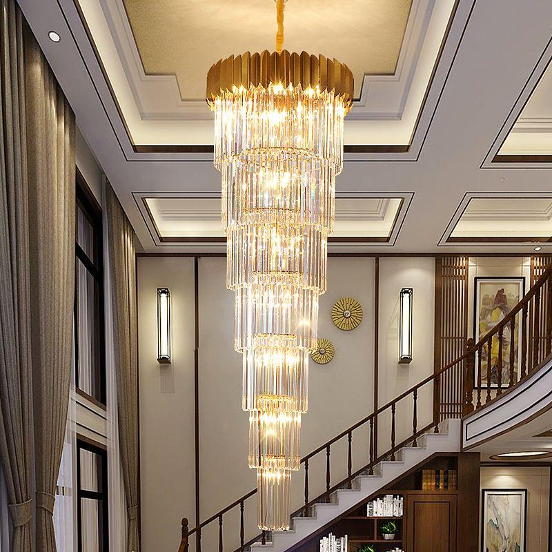 Merdiven Uzun Avize Villa Otel Hall Döner Lüks Büyük Kristal Avize Aydınlatma Modern Dubleks Kat Büyük Kristal Penant Işık led