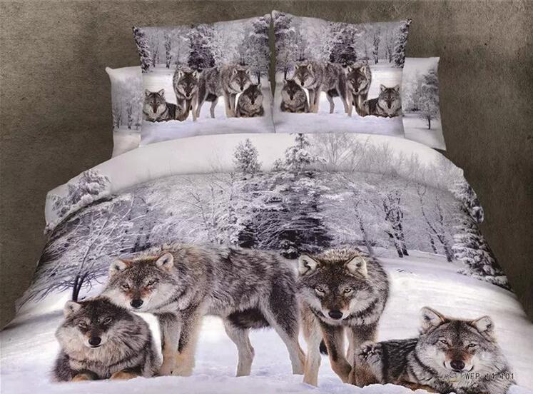 늑대와 자연 순수한 면화 회색 배경 Duvet 이불은 퀸 침구를 커버 3D 디지털 늑대 인쇄 4pc 세트 무료 배송