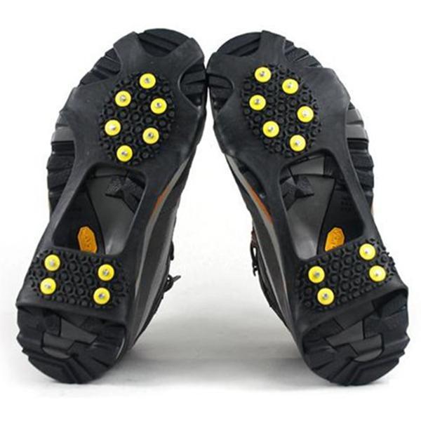 Ледяные снеговики с ручками на обувь на обувь 10 стальные шпильки льда зажимает ботинок резиновые шипы противоскользящие снежные лыжные захваты для ледяной лазания Обувь HWC410