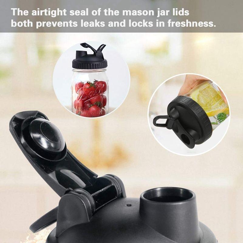 Mason Jar Lids - 4 Pack Canning Lids Flip Cap Lids with Leak-Proof Seal Storage Caps with Easy Pour Spout for Wide Mouth Mason J