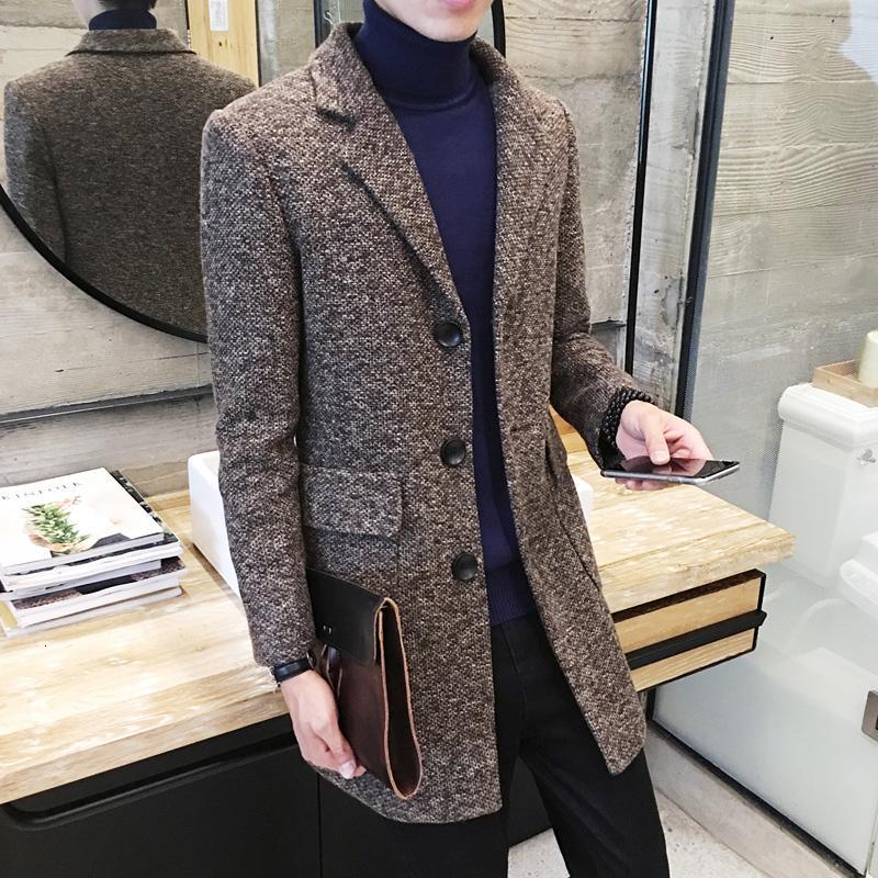Sonbahar Kış Uzun Hendek Erkekler İnce Moda Yün Coat Ceket Erkek Takım Elbise Yaka Yeni Casual Hendek Yün Coat Boyut M-2XLLY191112
