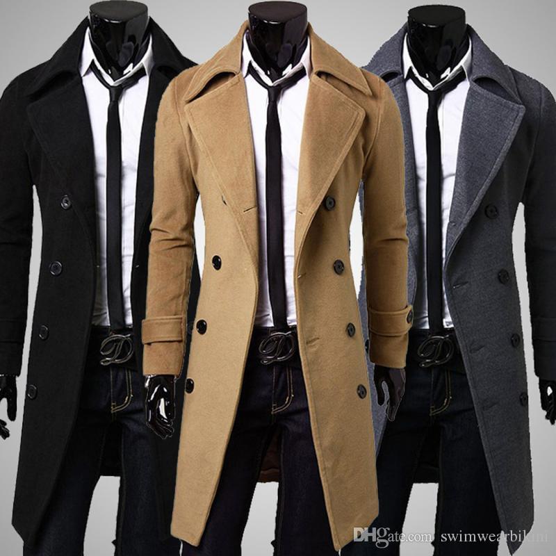 Erkekler palto 2018 yeni varış Trençkot Ince Erkek Uzun Ceketler Ve Palto palto Kruvaze Trençkot Erkekler Rüzgar Geçirmez ile ücretsiz gemi