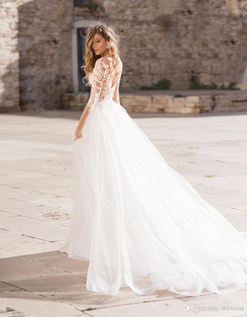 Свадебное платье Русалка Boho Съемный шлейф с аппликацией V-образным вырезом и длинным рукавом Атласное свадебное платье с открытой спиной Лонг-Бич Свадебные платья